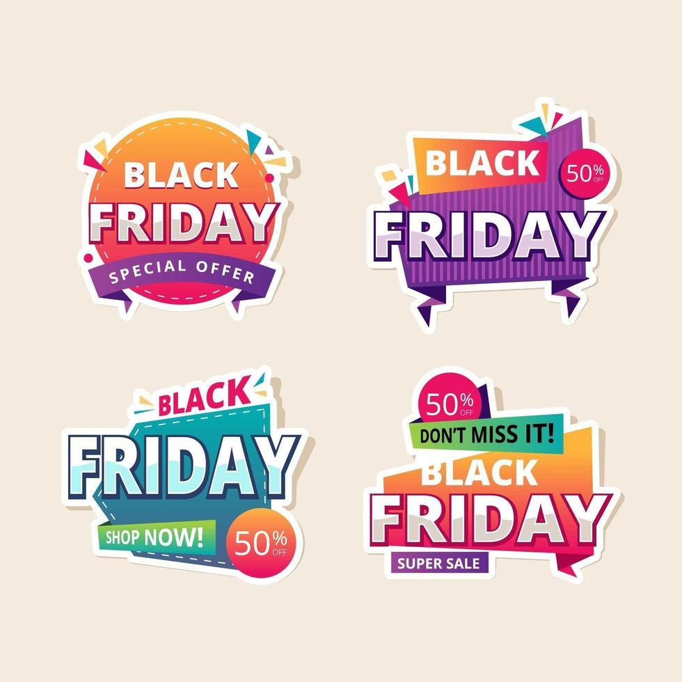 ensemble d'étiquette de vente vendredi noir coloré vecteur