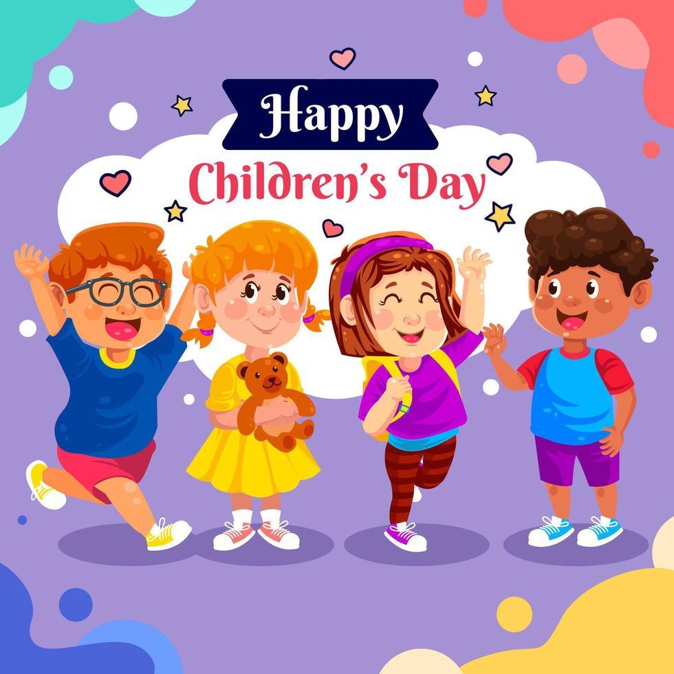 enfants heureux en arrière-plan coloré vecteur