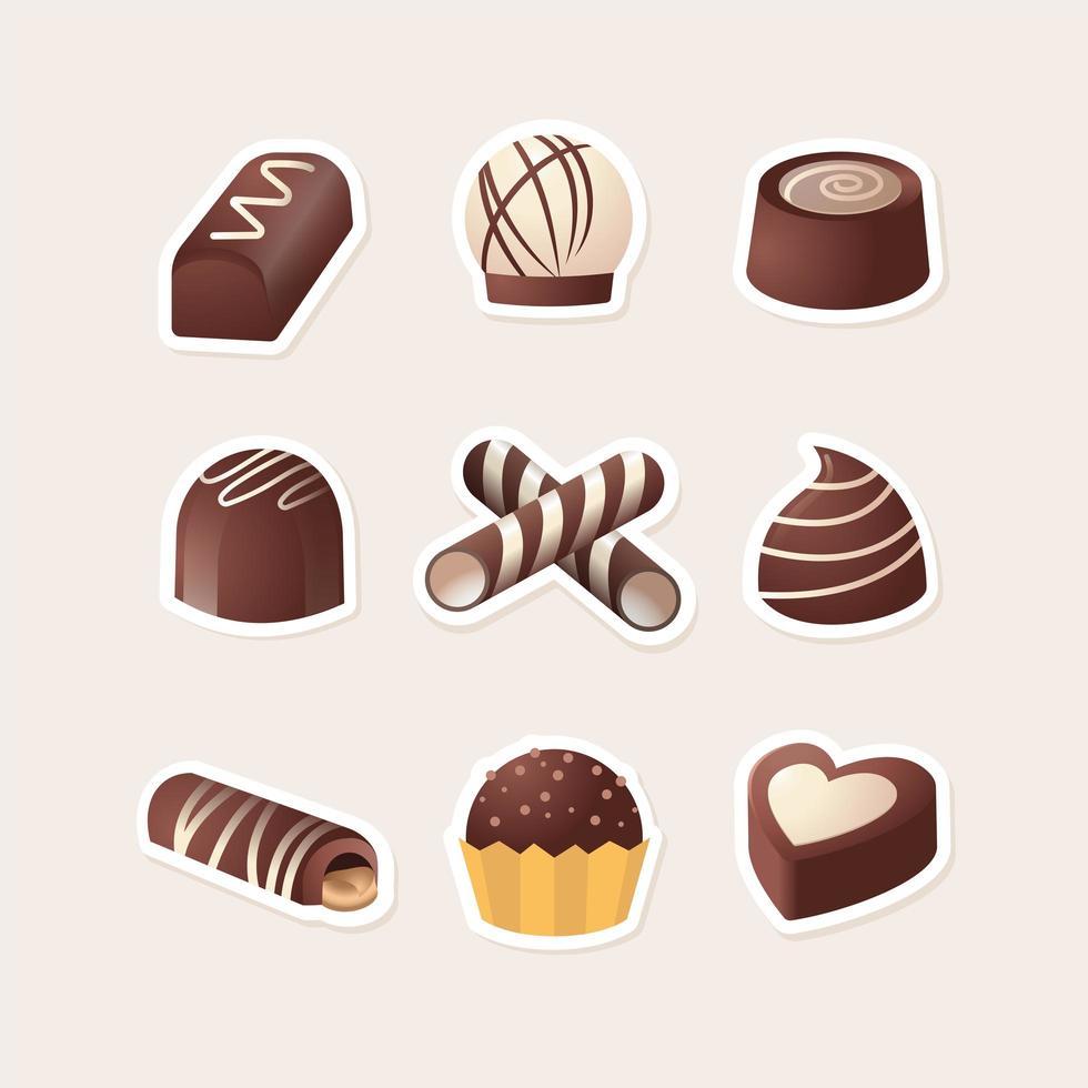 délicieuse variété de collection d'icônes de chocolat vecteur