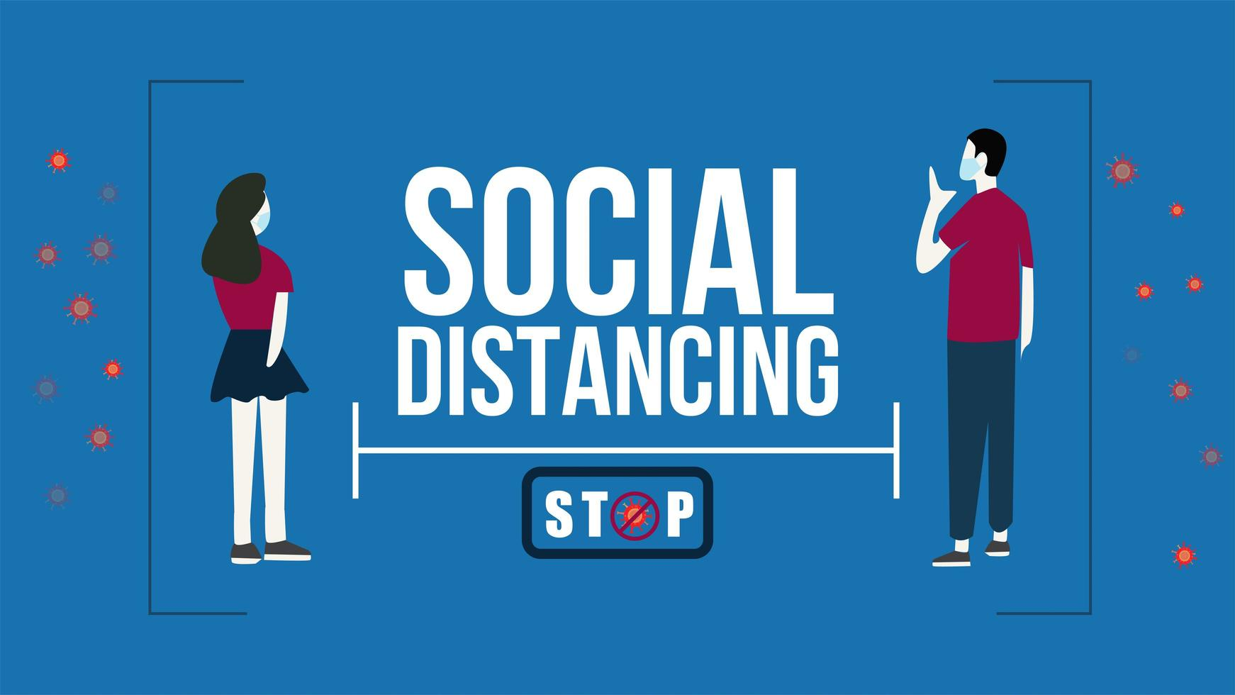 affiche de distanciation sociale covid-19 avec couple masqué vecteur
