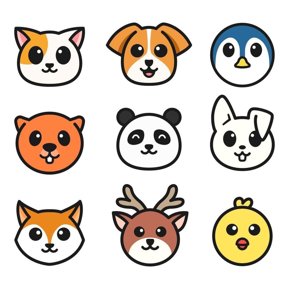 collection de visage d'animaux de dessin animé vecteur