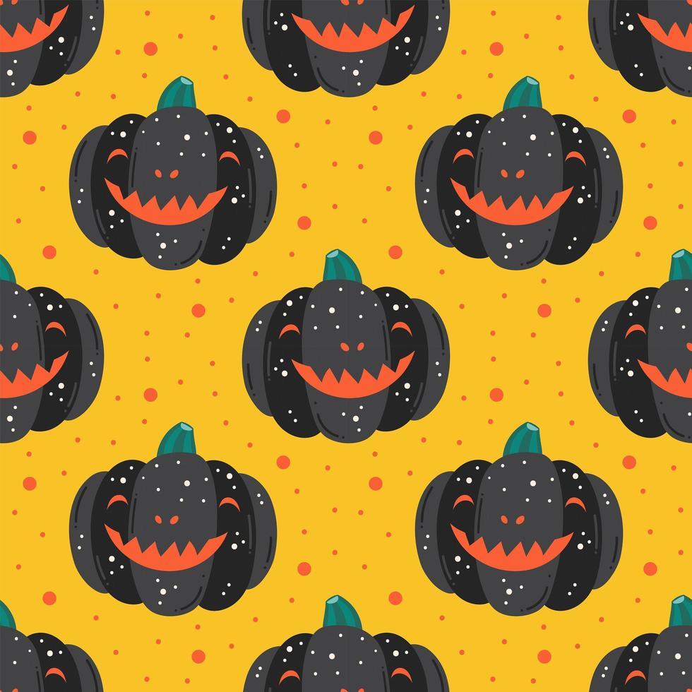 citrouilles noires fantasmagoriques avec motif de sourire vecteur