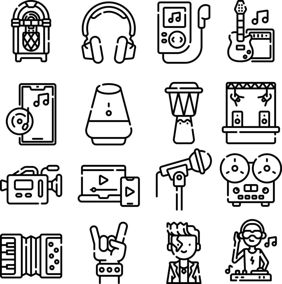 icônes de ligne de musique et multimédia vecteur