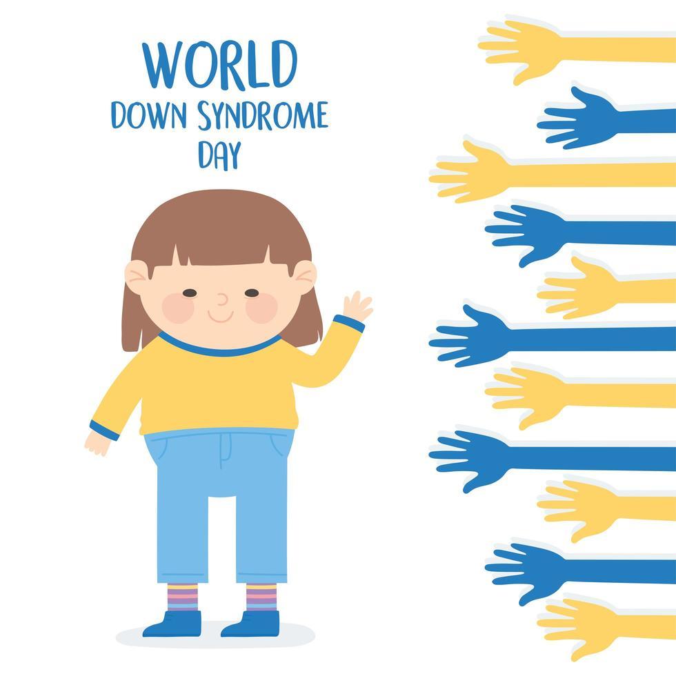 journée mondiale de la trisomie 21. fille et mains étendues vecteur