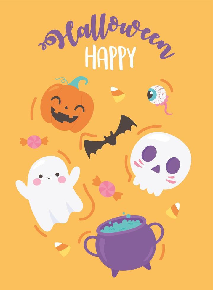 Joyeux Halloween. citrouille, crâne, chauve-souris, chaudron et oeil vecteur