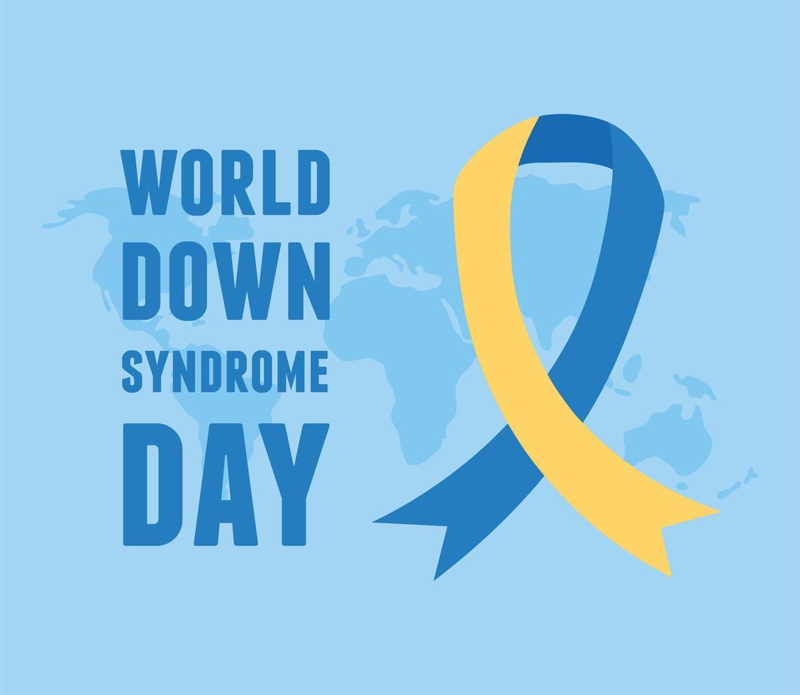 journée mondiale de la trisomie 21. campagne de ruban sur la carte vecteur