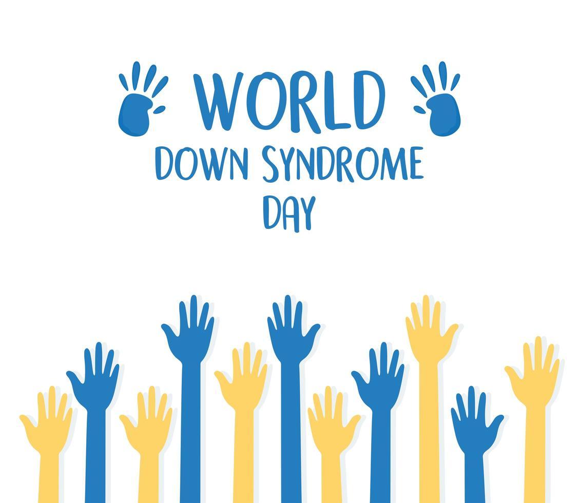 journée mondiale de la trisomie 21. aiguilles bleues et jaunes vecteur