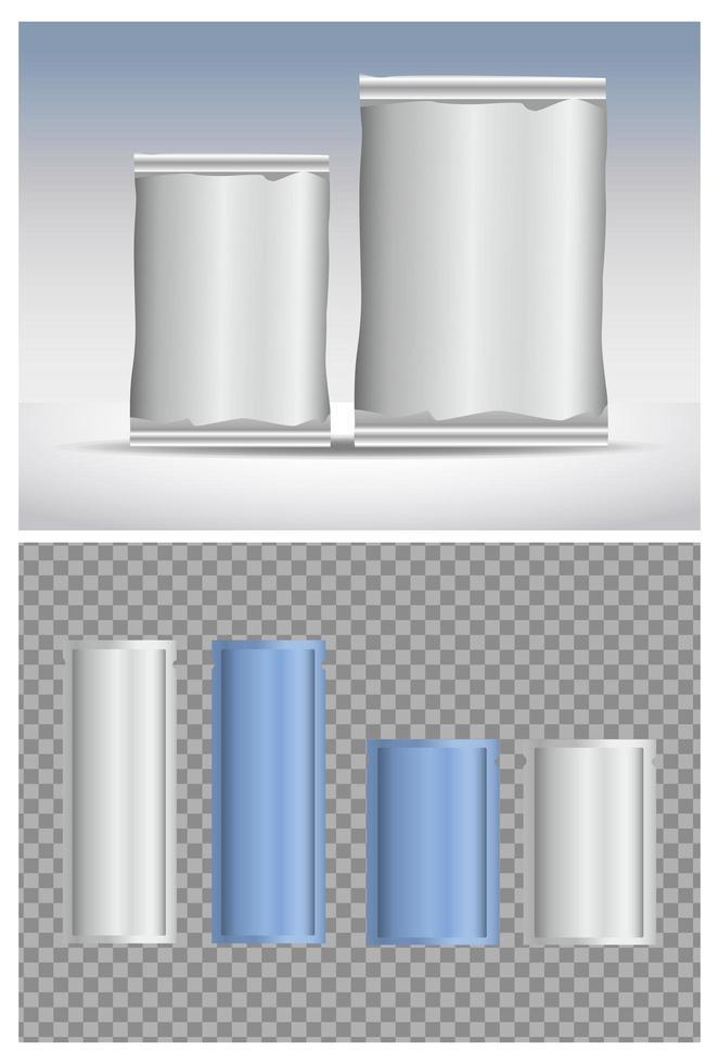 produits d'emballage de sachets bleus et gris vecteur