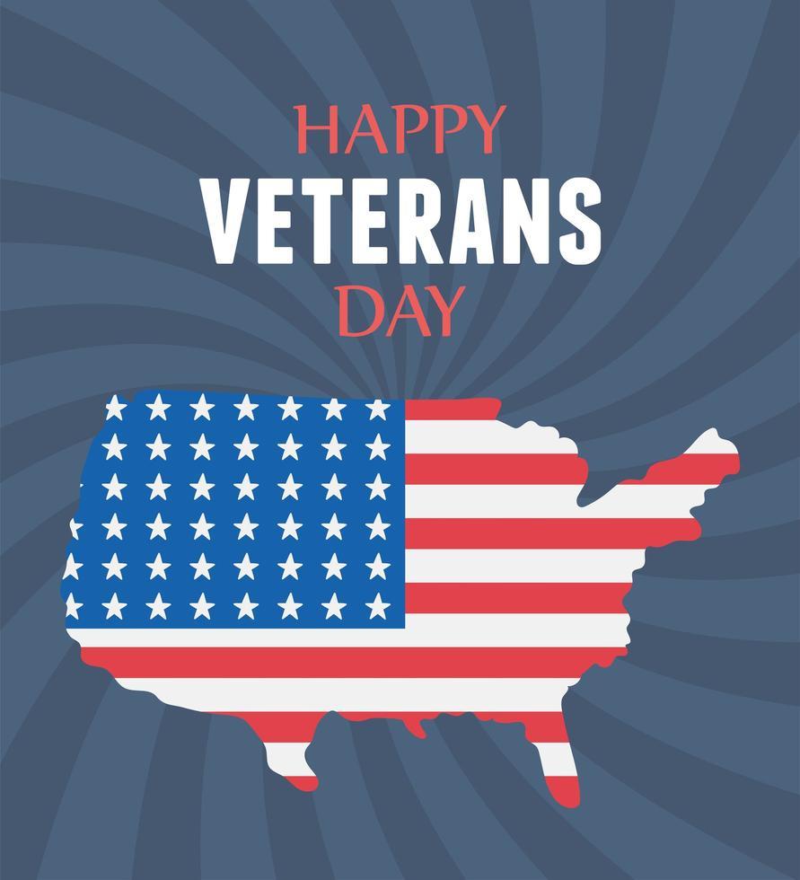 Joyeux Jour des Vétérans. drapeau américain sur la carte vecteur