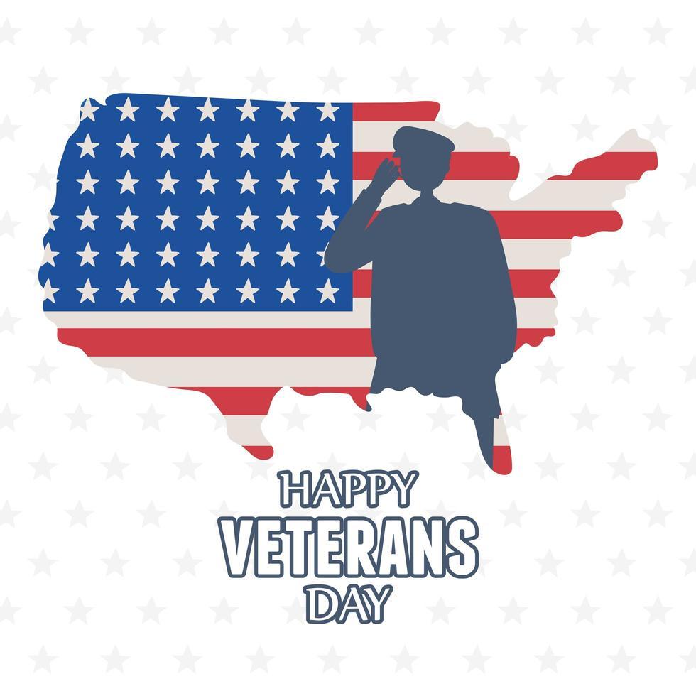 Joyeux Jour des Vétérans. silhouette de soldat sur la carte américaine vecteur