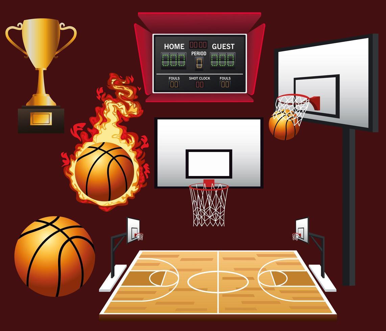 jeu d'icônes de basket-ball vecteur