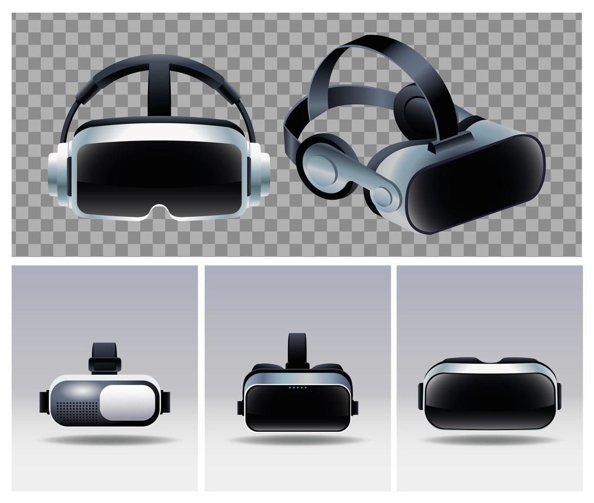 cinq accessoires de masques de réalité virtuelle vecteur