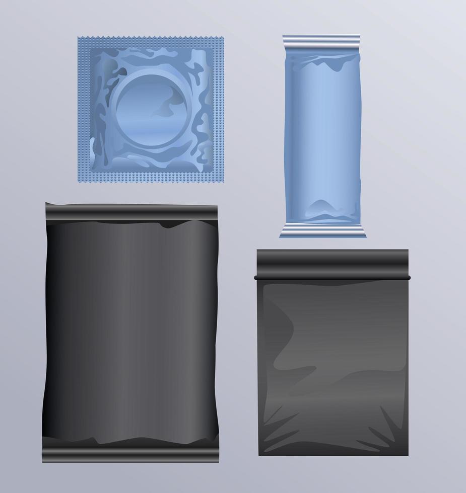 produits contraceptifs et sacs de préservatifs vecteur