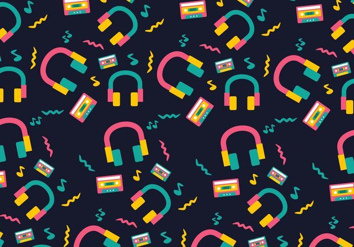Neon Funky Head Phone Background vecteur