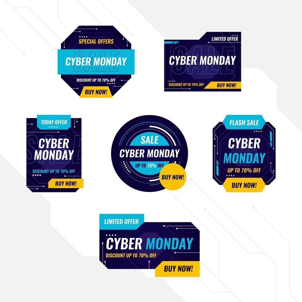 étiquette futuriste cyber lundi vecteur