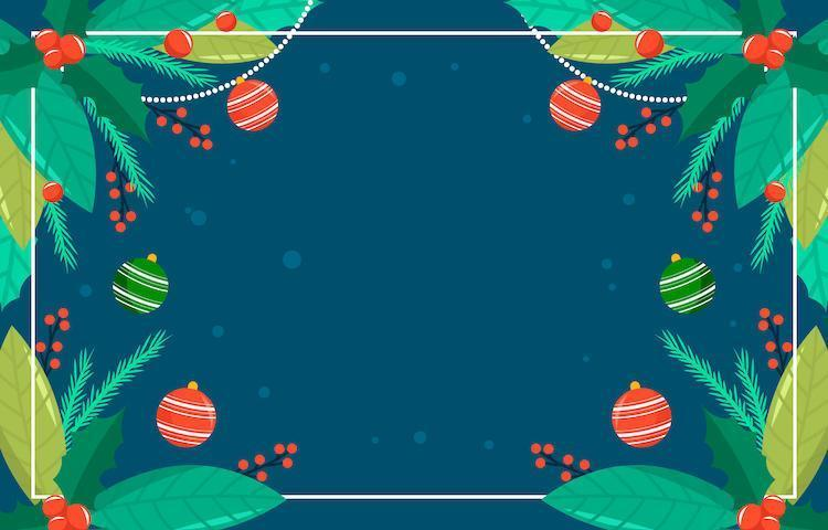 fond de feuilles et ornements de Noël colorés vecteur