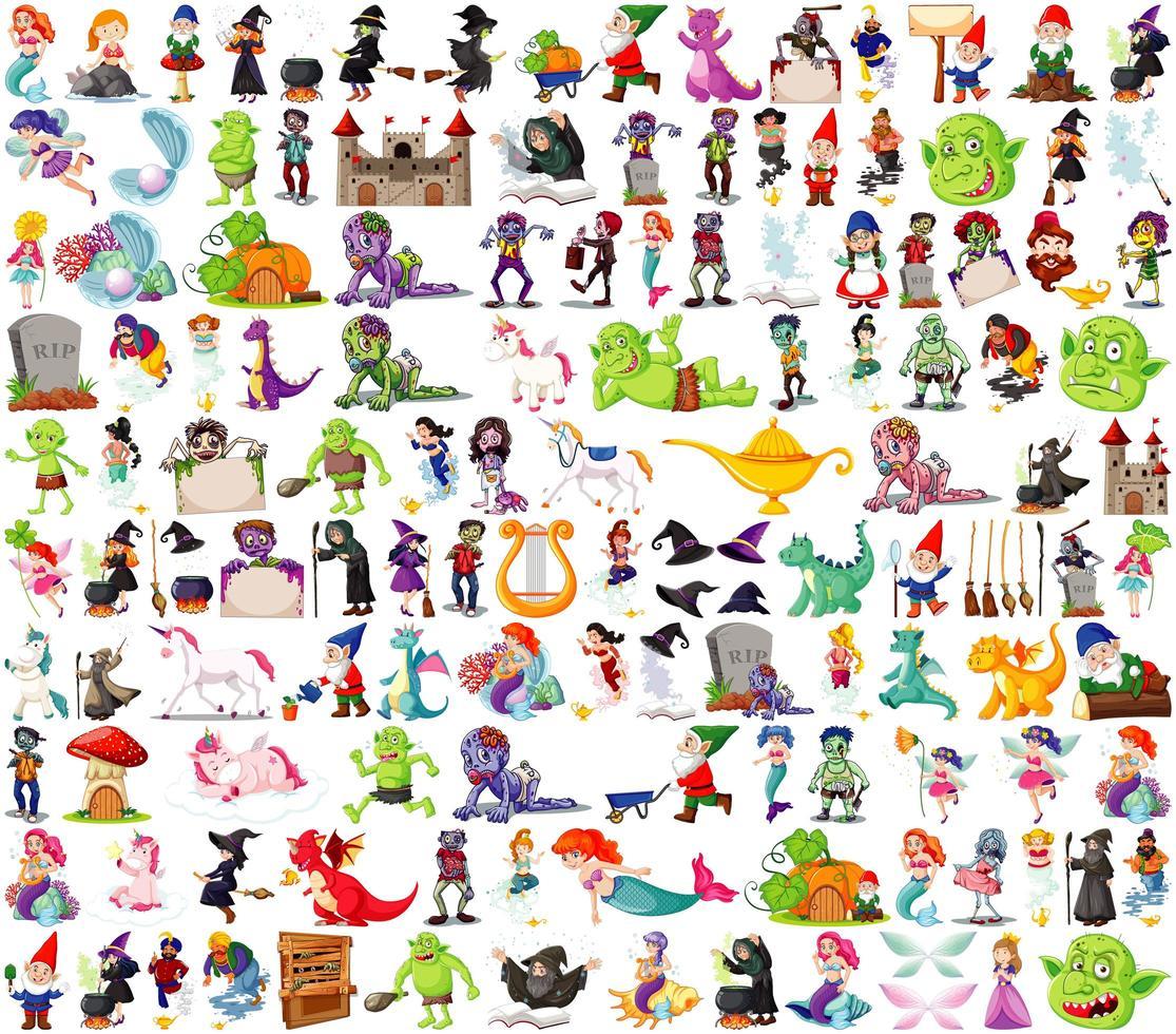 ensemble de personnages de dessins animés fantastiques vecteur