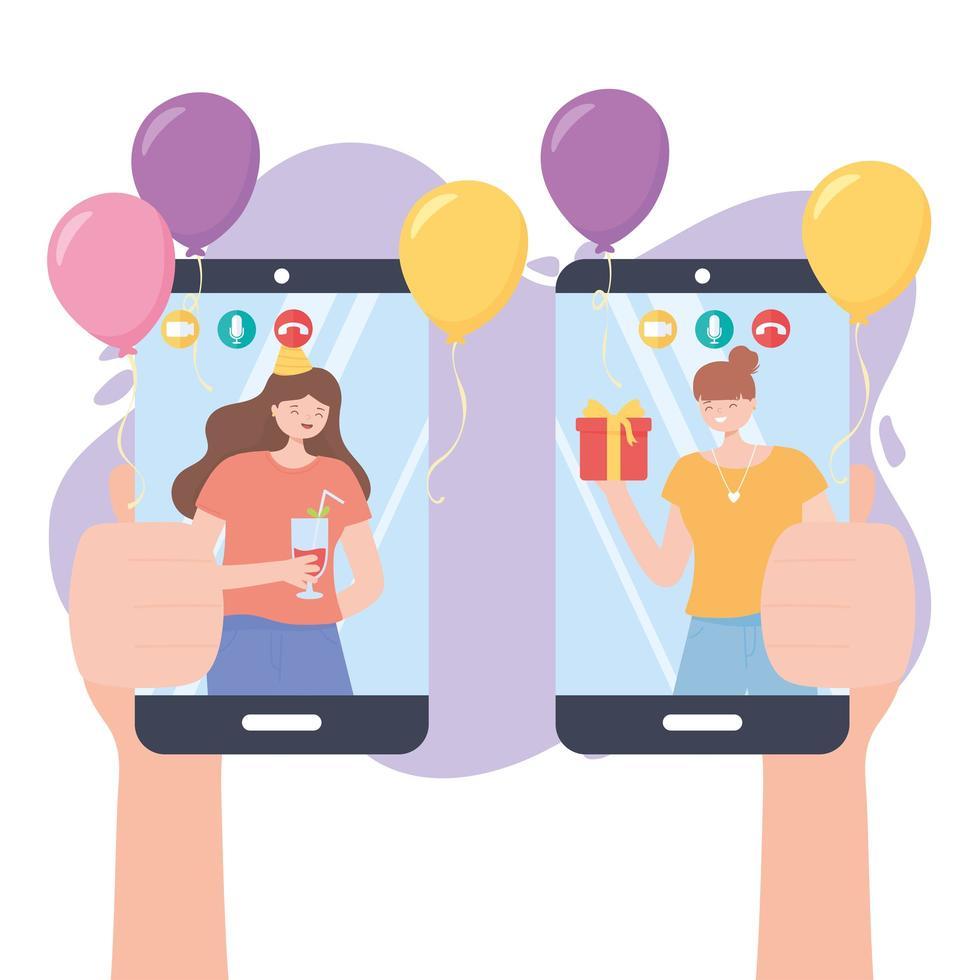 mains avec mobile et personnes en appel vidéo vecteur