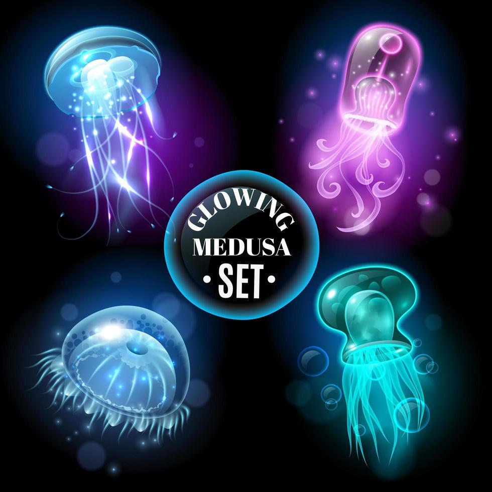 ensemble de méduse lumineux vecteur