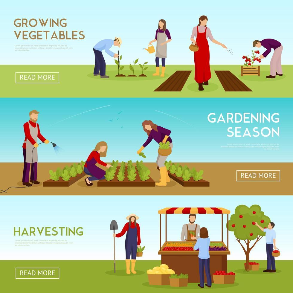 bannières horizontales de jardinage vecteur