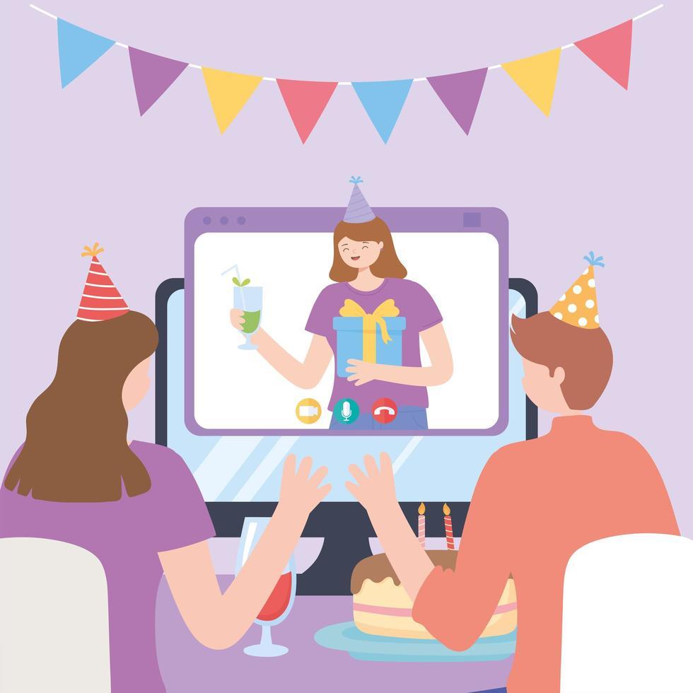 partie en ligne. couple célébrant en appel vidéo vecteur