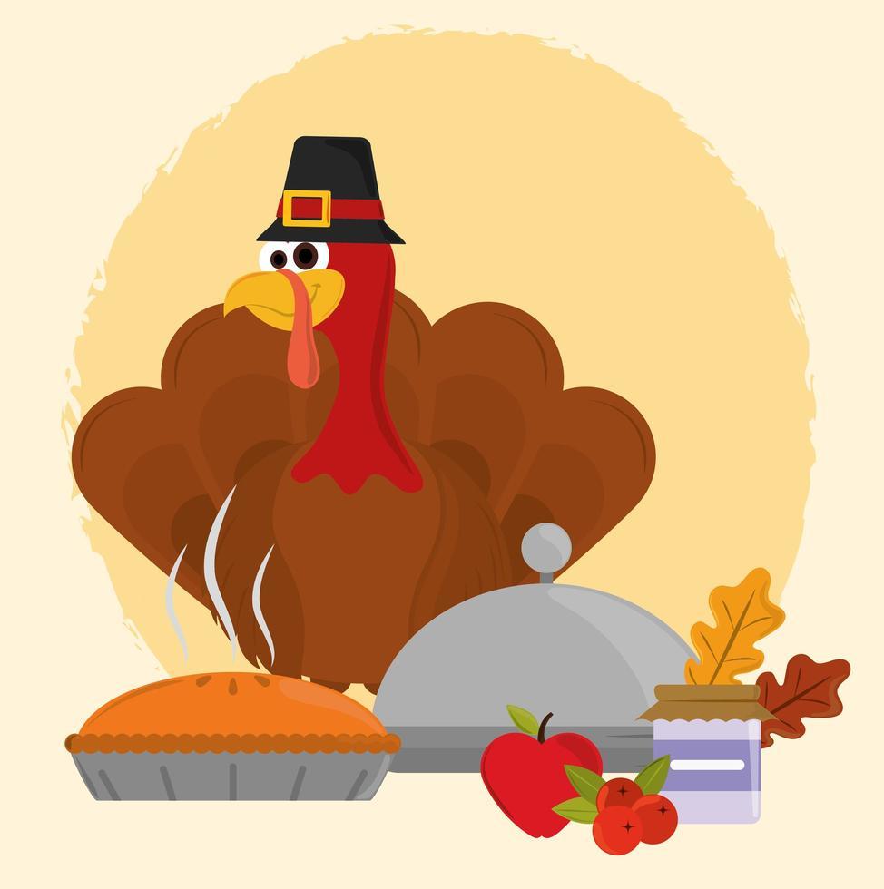 joyeux jour de Thanksgiving. dinde avec chapeau et feuilles vecteur