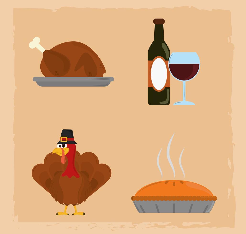 joyeux jour de Thanksgiving. vin, bouteille, dinde et gâteau vecteur