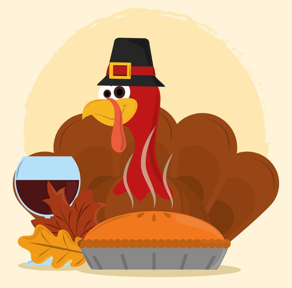 joyeux jour de Thanksgiving. dinde avec chapeau et gâteau vecteur