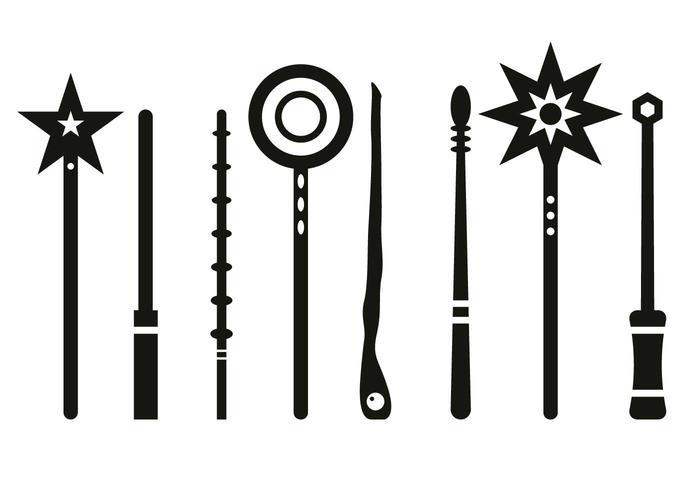 silhouette vecteur de bâton magique