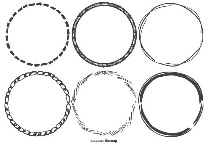 Round Funky Sketchy Frames vecteur
