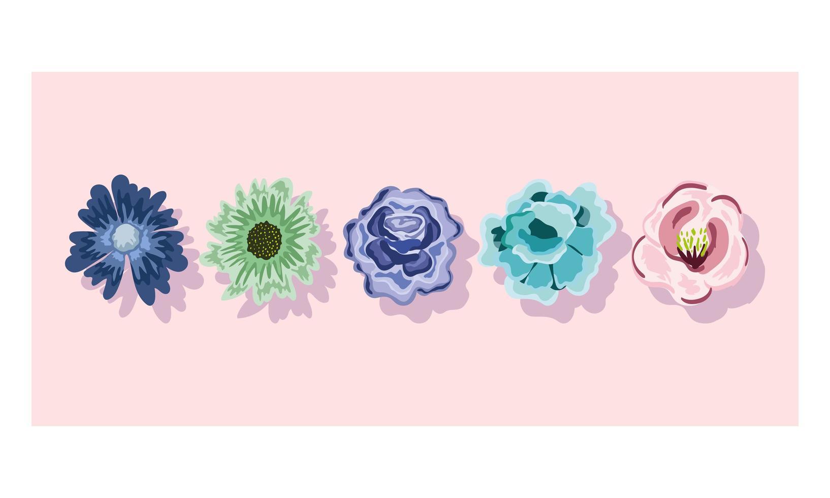 ornement de décoration de fleurs délicates. conception florale de la nature vecteur