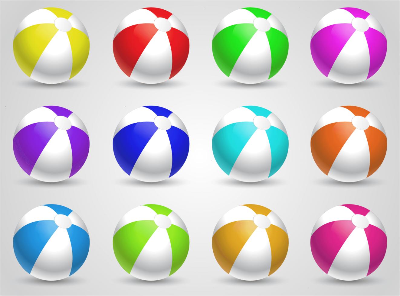 ensemble de boules de plage colorées vecteur