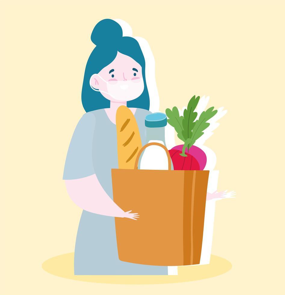 femme avec masque de protection et sac d'épicerie vecteur