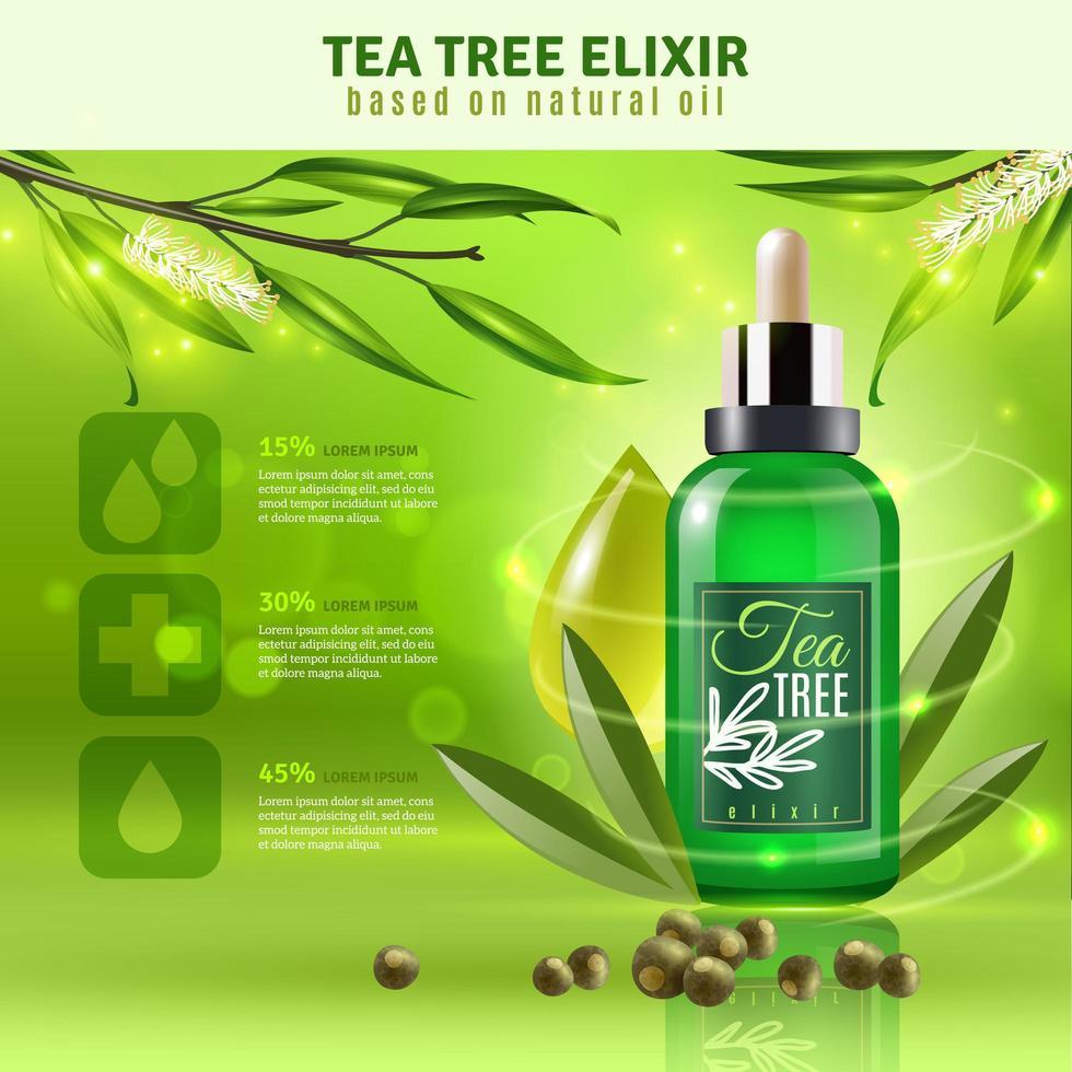 fond de produit d'huile d'arbre à thé vecteur