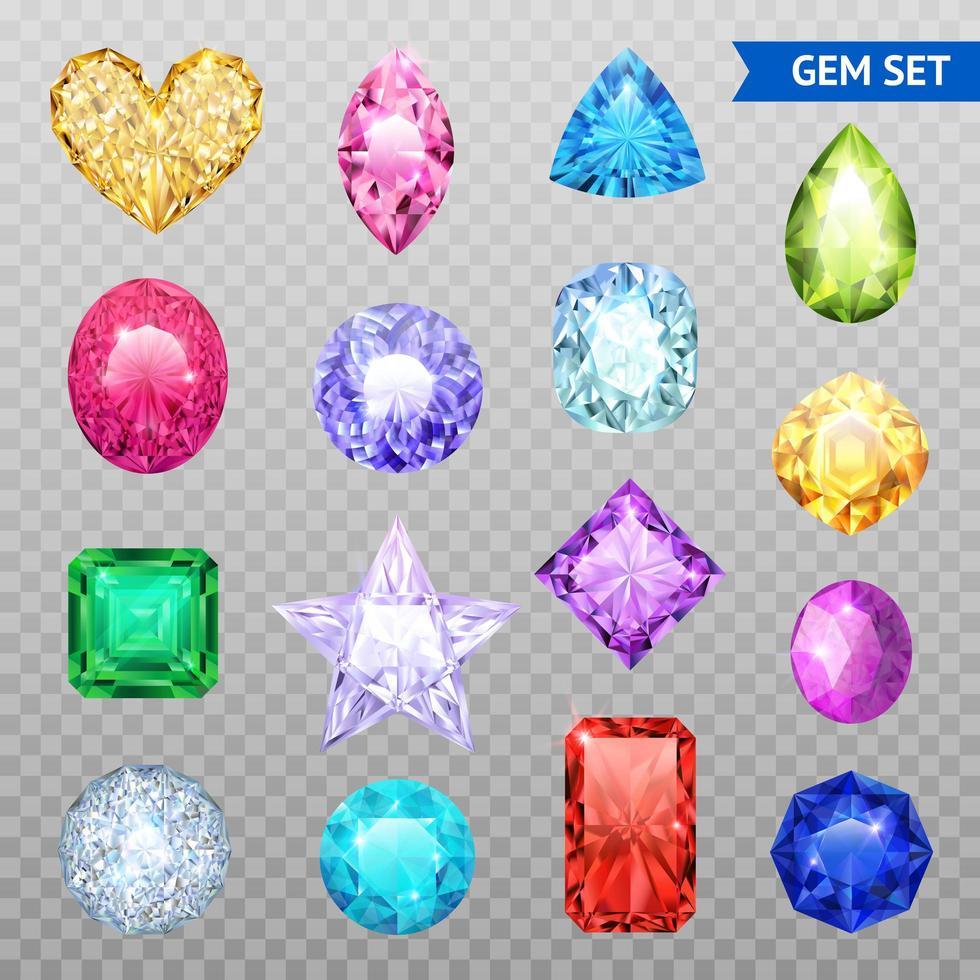 ensemble transparent de pierres précieuses colorées vecteur