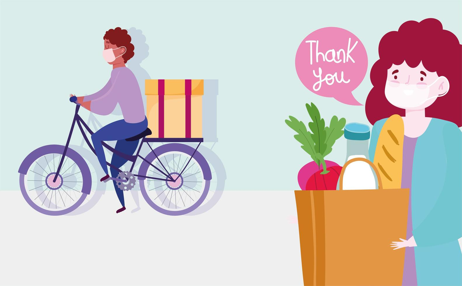 homme de messagerie vélo avec boîte et client femme vecteur