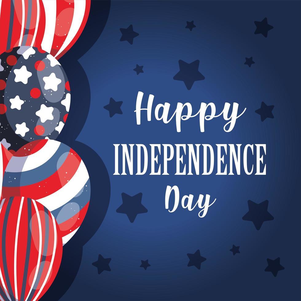 ballons de fête de l'indépendance avec des étoiles vecteur