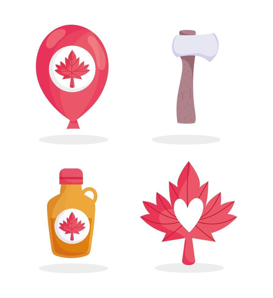 sirop d'érable canadien, ballon, hache et feuille vecteur