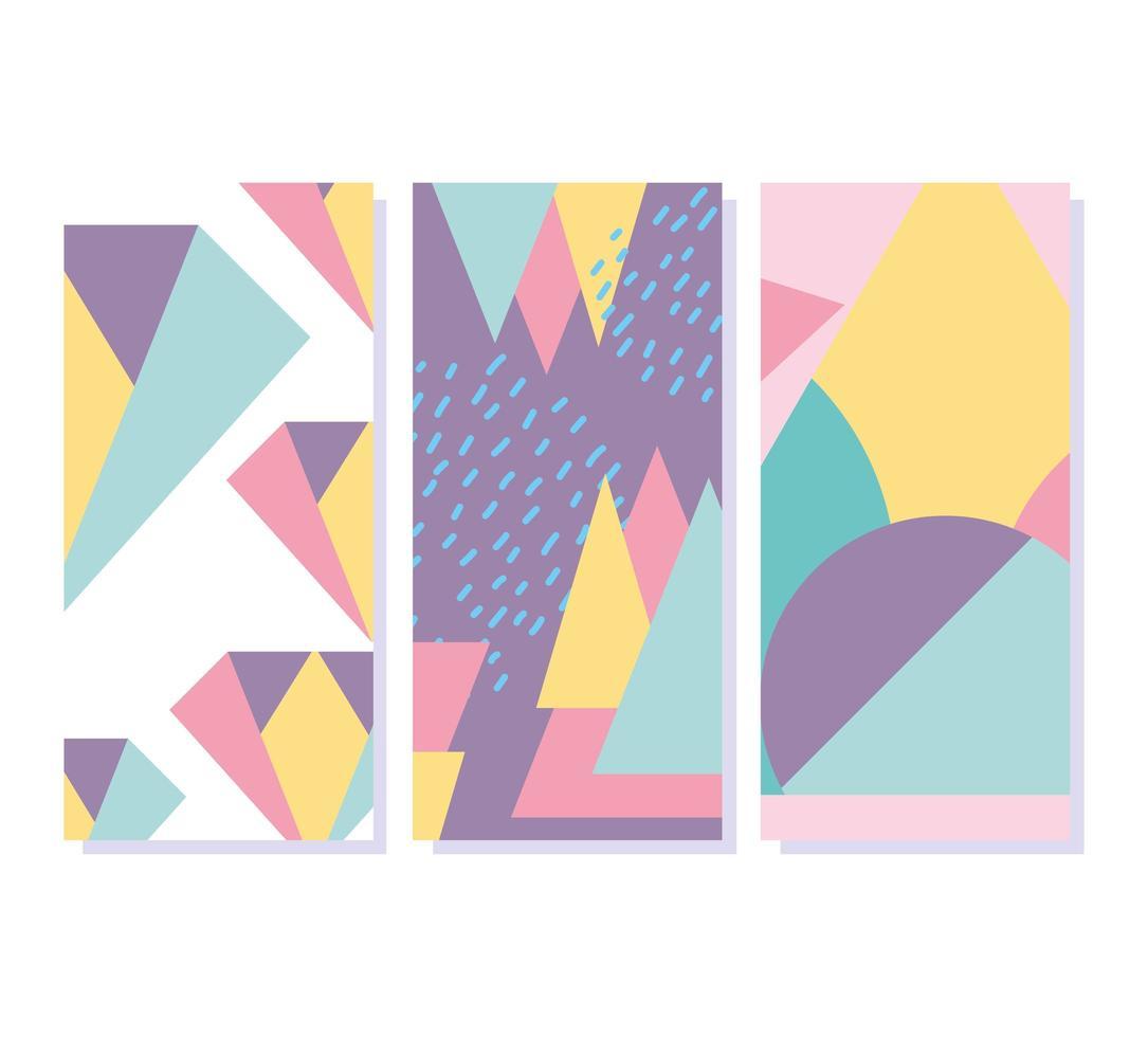 éléments géométriques memphis bannières de texture de style rétro vecteur