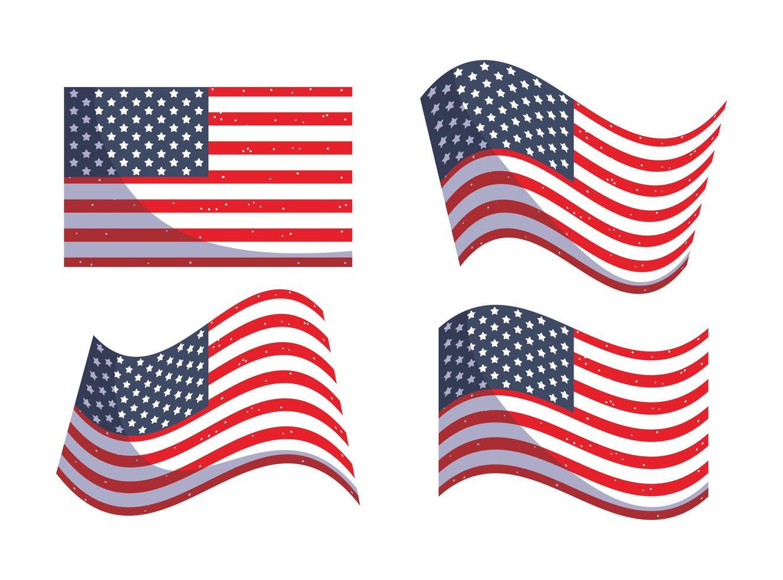 conception de drapeaux usa isolés vecteur