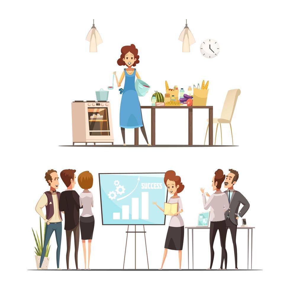 dessin animé, femme, travail vecteur