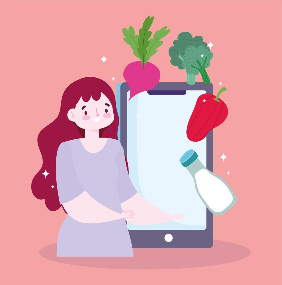 service en ligne de commande de nourriture. femme avec smartphone vecteur
