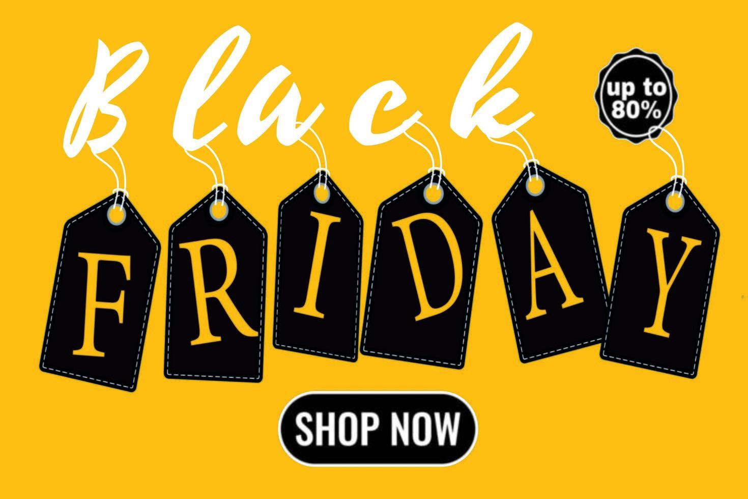 affiche jaune étiquette de vente vendredi noir vecteur