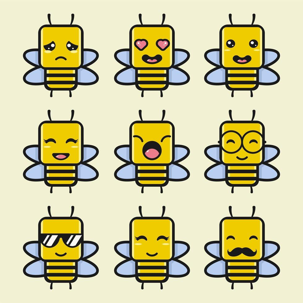 ensemble de personnages de dessin animé mignon abeille vecteur