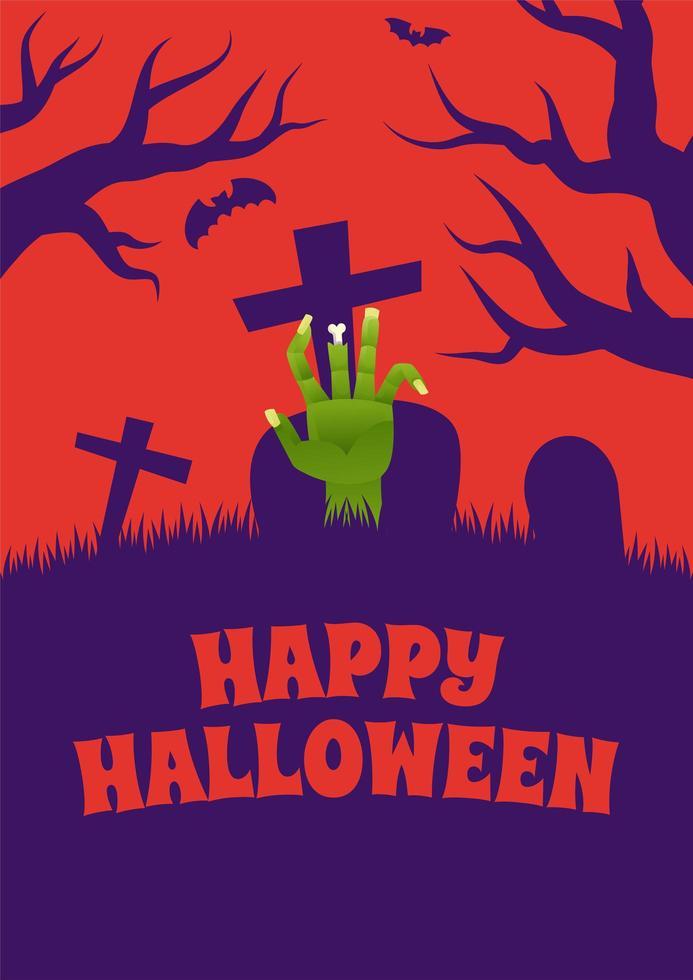 affiche dhalloween avec la main de zombie au cimetière vecteur