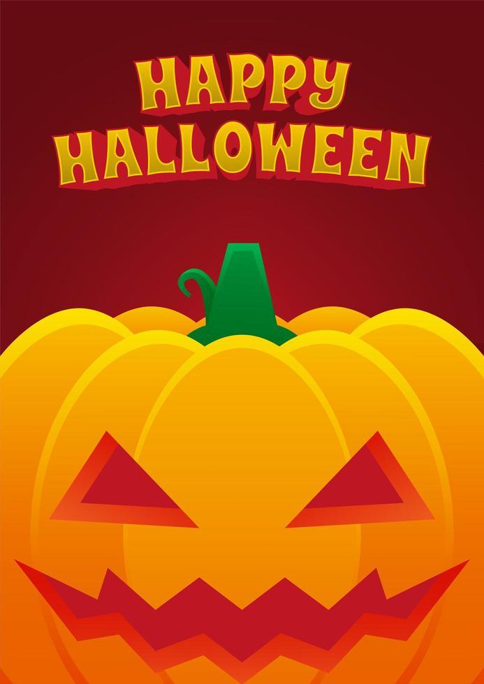 affiche de l'événement halloween avec citrouille maléfique vecteur