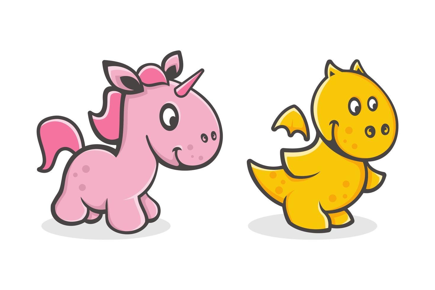 ensemble de dessin animé mignon bébé licorne et dragon vecteur