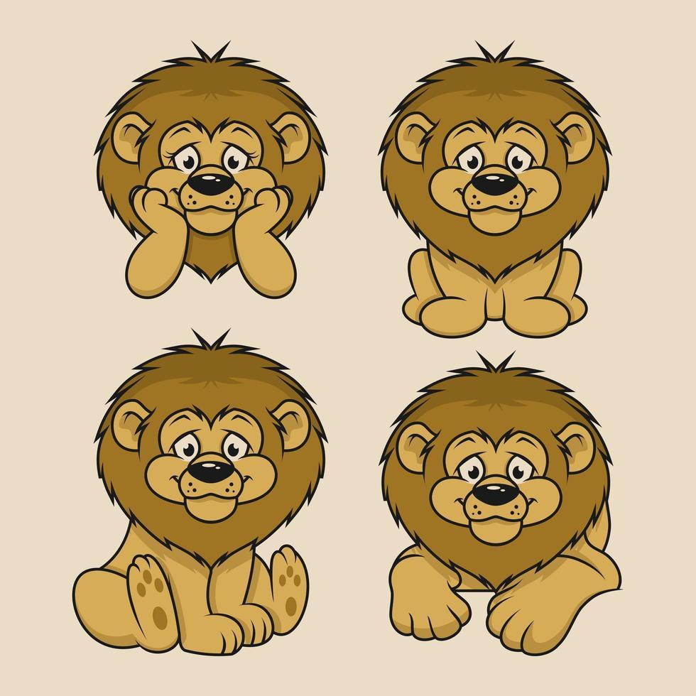 4 set design de personnage de dessin animé de lion vecteur