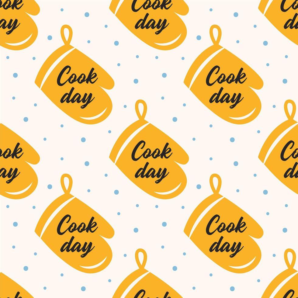 modèle sans couture de gant de four jaune jour de cuisson vecteur