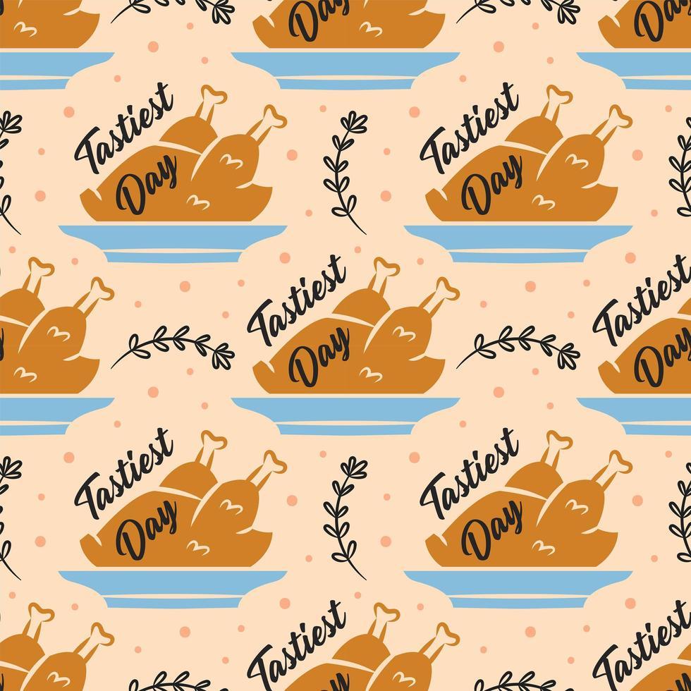 modèle sans couture de dinde joyeux thanksgiving vecteur